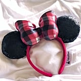 Plaid Bow With Black Sequin Ears