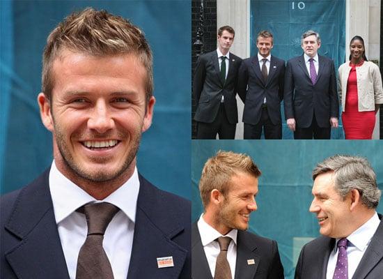 Photos of David Beckham at 10 Downing Street to Launch Malaria No More UK