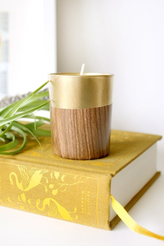 Faux Wood Candle Holder