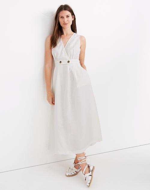 Button-Waist Wrap Midi Dress