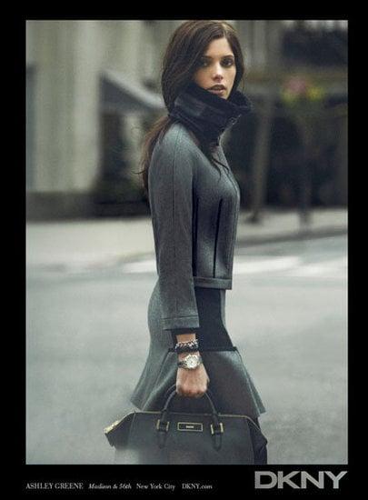 Bundle up, like Ashley Greene, in grays for DKNY.