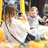 Jessica Alba took photos of Haven Warren at the pumpkin patch.