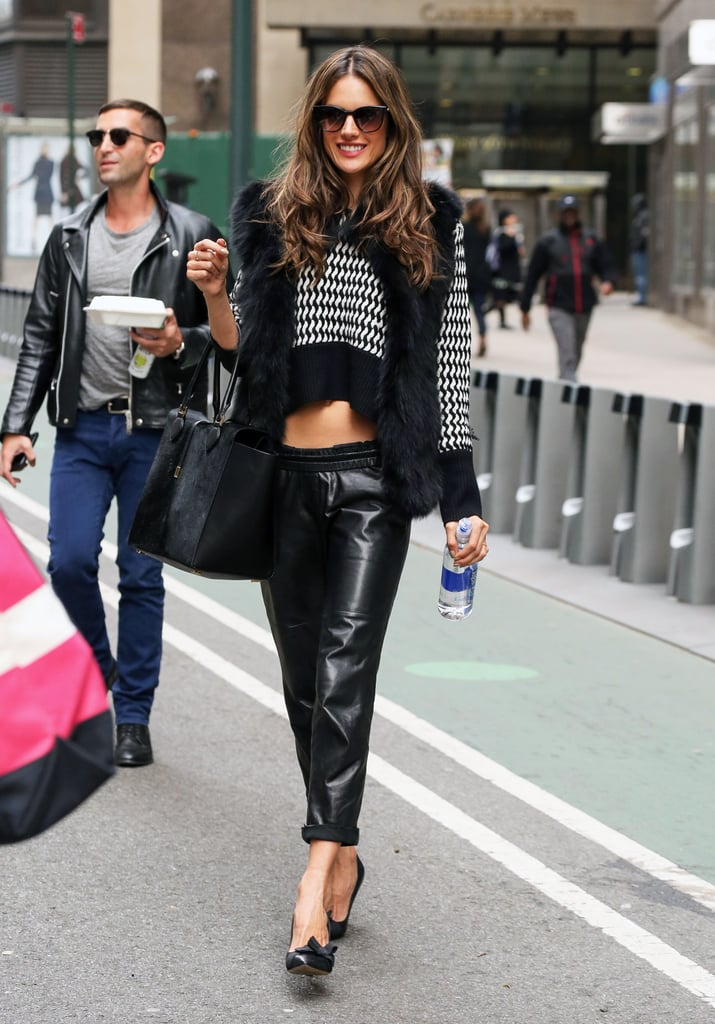 Even in the colder months, Alessandra Ambrosio knows how to rock a crop top. The model paired her short sweater with leather trousers and classic pumps.