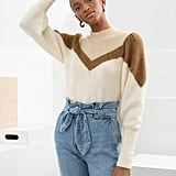 & Other Stories Color Block Puff Sleeve Sweater
