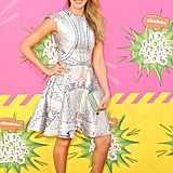Jessica Alba in a Mary Katrantzou and a Stella Clutch