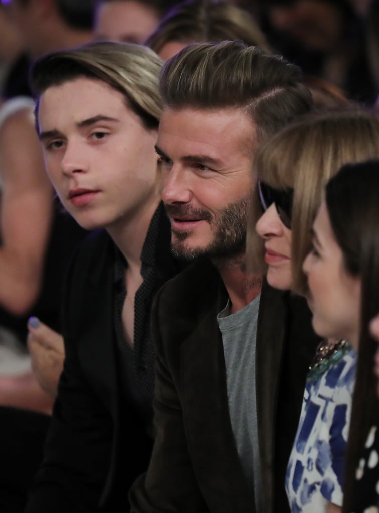 """David and Brooklyn Beckham stepped out together for Victoria's show at New York Fashion Week on Sunday afternoon. As the models showed off the designer's Spring 2017 collection, the father-son duo attentively took in the show from the front row next to Vogue editor Anna Wintour, which we all know is the best seat in the house.  Sadly, Victoria's other kids, Romeo, Cruz, and Harper, were not in attendance, but they did wish her luck earlier in the day. Just before kickoff time, Victoria shared a photo on social media of the note her children sent her, which read, """"To Mummy, Good luck with the show. We love you. Brooklyn, Romeo, Cruz, and Harper."""" After the show, Brooklyn congratulated his mom on Instagram, writing, """"What an amazing show. Well done mum @victoriabeckham ❤️,"""" and the brood stayed true to their family tradition and celebrated at French restaurant Balthazar in SoHo.       Related:                                                                65 Beckham Family Moments That Are Just OK and Won't Make You Envy Them at All                                                                   David and Victoria Beckham's Love Story, as Told by Them                                                                   12 Times Victoria and David Beckham Embarrassed Brooklyn Like Any Other Parent Would"""