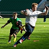 Prince Harry played rugby when he took part in a coaching session on Thursday.