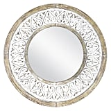 Distressed Round Wall Mirror in Rustic White