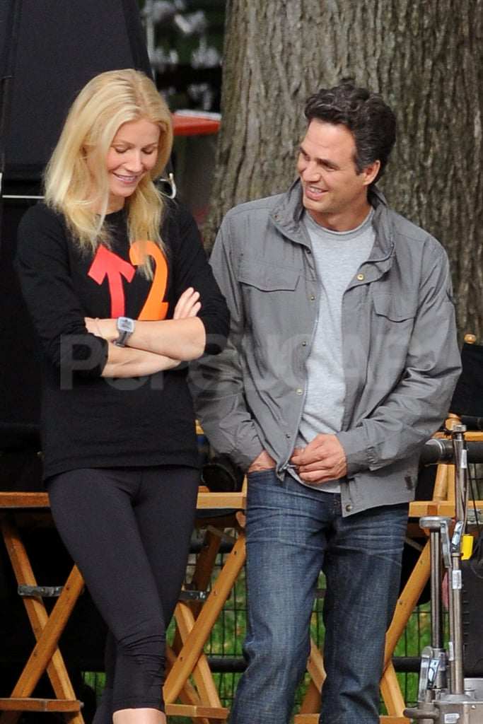 Gwyneth Paltrow and Mark Ruffalo waited for their scene to start.