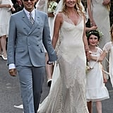 Boho dresser Kate Moss married Jamie Hince in a fittingly romantic John Galliano gown in July 2011.
