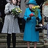 Princess Eugenie helped her grandmother carry numerous bouquets of flowers in 2012.