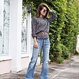 A Belted Gray Sweater and Flare Jeans