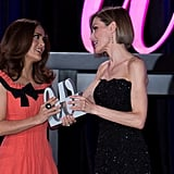 Queen Letizia gave Salma Hayek and honor at the Woman Awards in April.