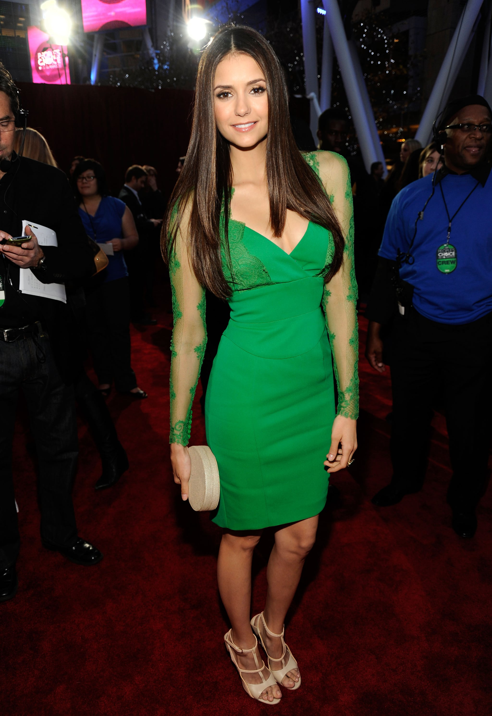 For the 2012 People's Choice Awards, Nina made us green with envy in her lace-sleeved Elie Saab cocktail dress.