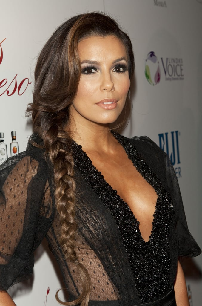 Eva hosted a 2012 Pre-Oscar benefit at her restaurant, Beso. She wore her hair in a lengthy side braid with face-framing tendrils.