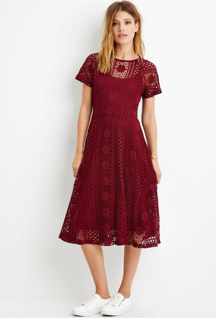 Forever 21 Contemporary Floral Crochet Midi Dress in Burgundy