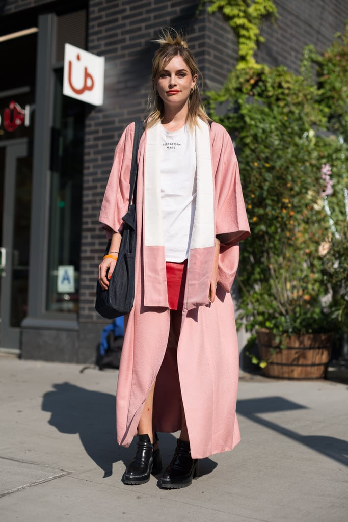 If you prefer to make pink the center of your attention in your outfit, add a pop of red elsewhere, like with your skirt. Hannah Ongley effortlessly pulled this off during Fashion Week.