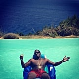Diddy kept his nose protected with sunscreen during a relaxing day at the pool.  Source: Instagram user iamdiddy