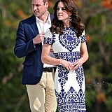 For one of the most iconic pictures from the tour, Kate teamed a stunning Naeem Khan dress with a pair of $7 earrings at the Taj Mahal. The duchess had bought them from a trinket stall during her hike in Bhutan.