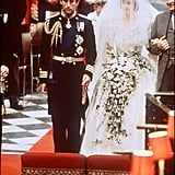 "Diana's dress, designed by Elizabeth and David Emanuel, featured 10,000 tiny mother of pearl sequins and pearls, and a 25-foot-long train. The silk-taffeta creation reportedly cost $115,000. During the ceremony, Diana made history as the first royal bride to omit the word ""obey"" from her vows.       Related:                                                                                                           A Sweet Look at Candid Moments From Princess Diana's Wedding Day"