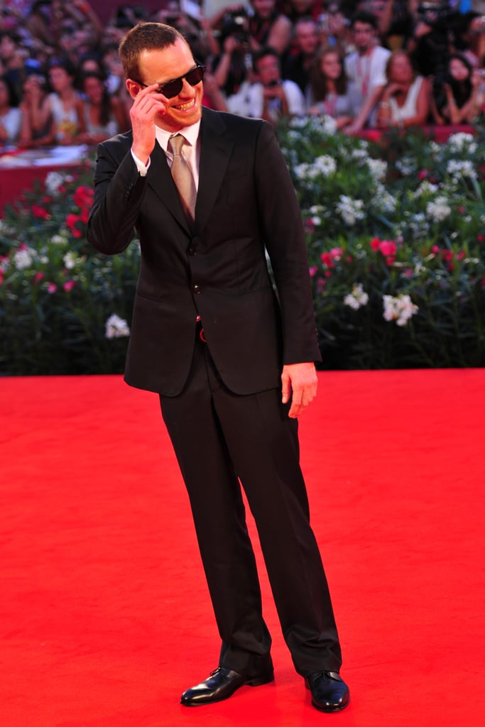 Michael Fassbender rocked shades to a September 2011 Venice premiere of A Dangerous Method.