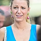 Blake Lively had her hair pulled back in a ponytail on the set of Gossip Girl in NYC.