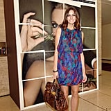 Adding Proenza booties and a Mulberry satchel to a multicolored mini at Fashion Week in 2010.