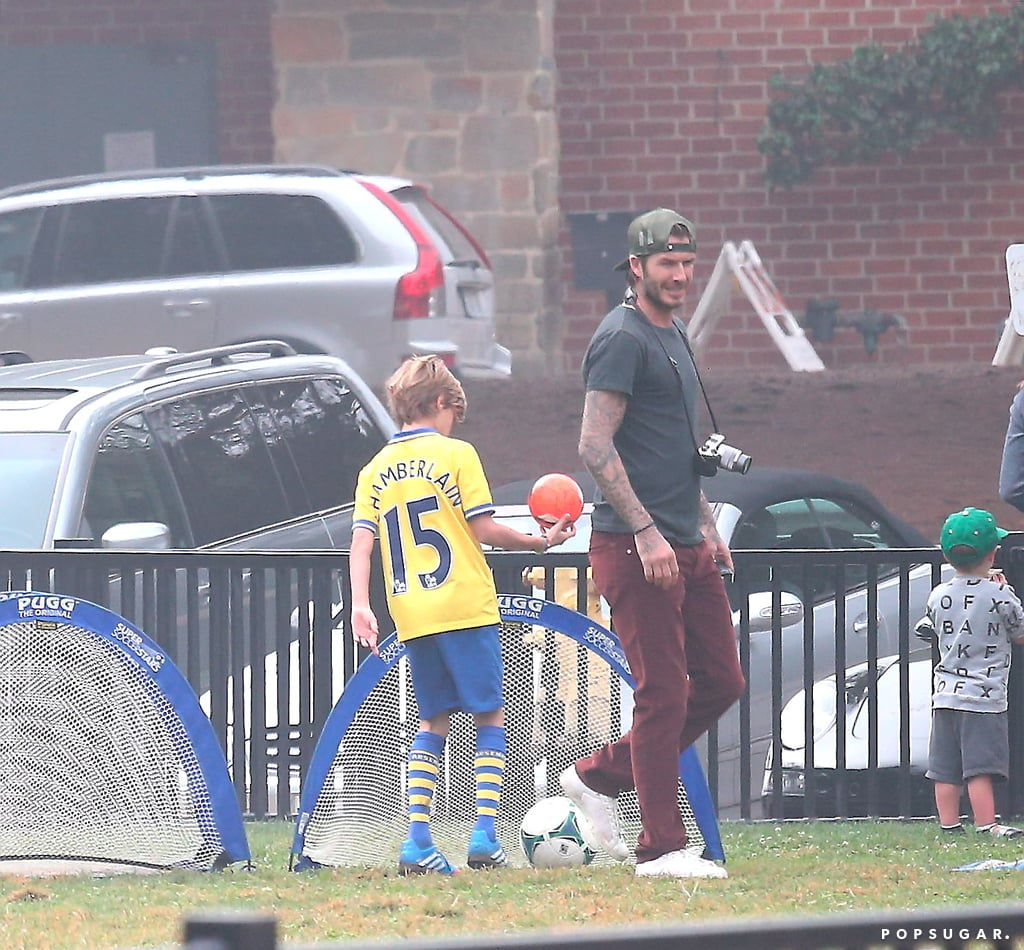 David Beckham showed off his soccer skills with his sons.