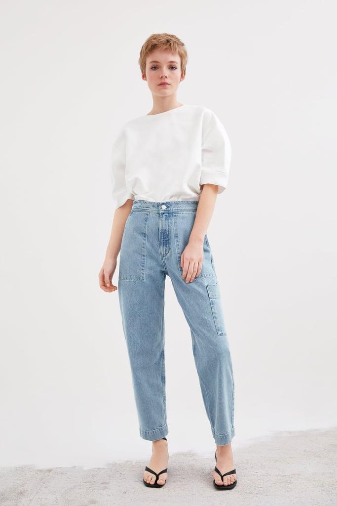 Zara Denim Pants With Pockets