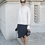 For Sunday brunch, we love a classic knit over a polka-dot dress with flats.