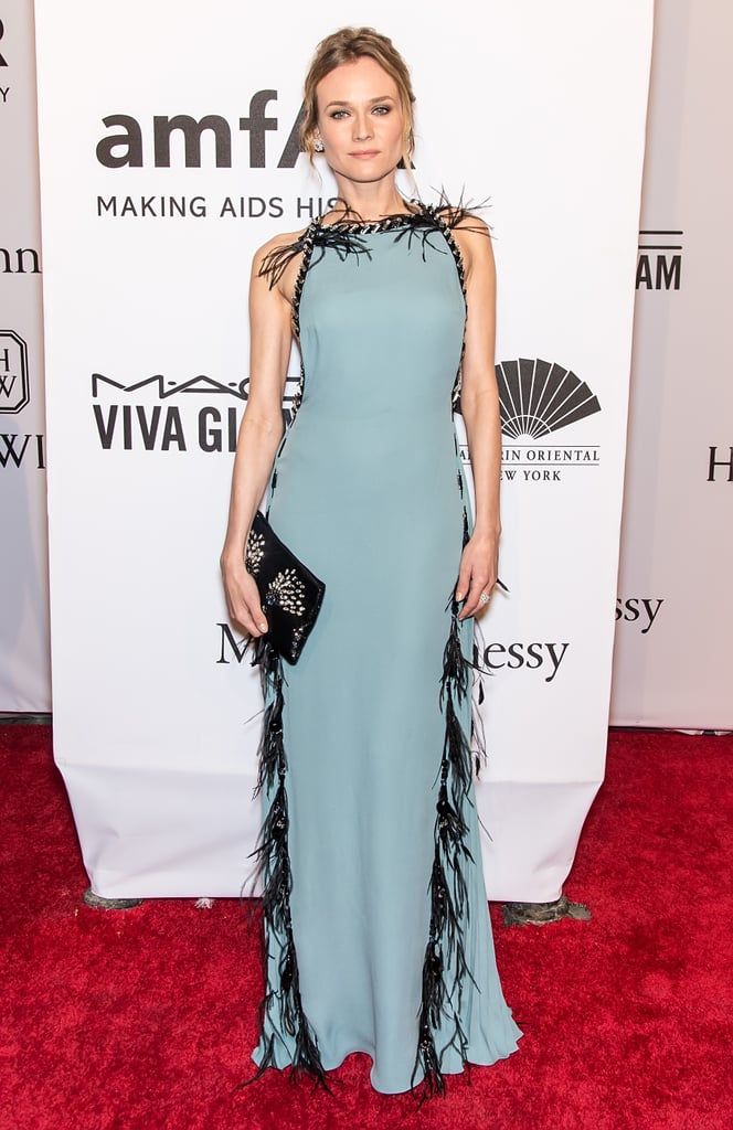 This feathered blue Prada dress was the perfect elegant choice for the 2016 amfAR New York Gala.