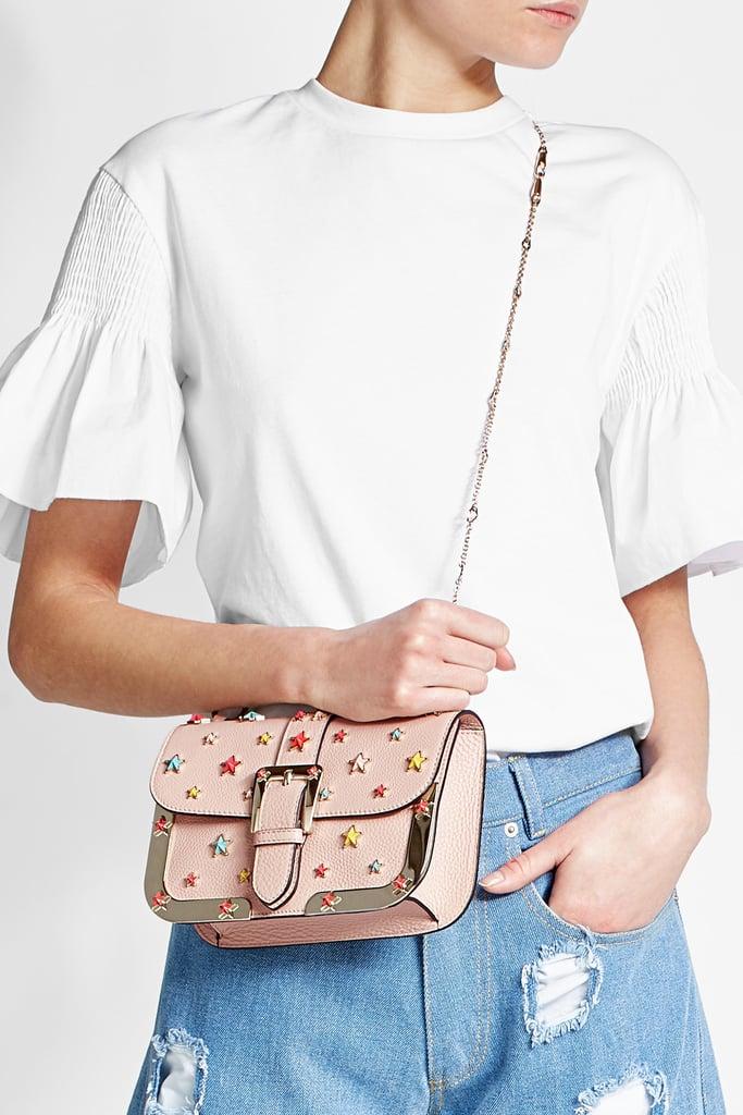 R.E.D. Valentino Embellished Leather Shoulder Bag With Gold-Tone Frame