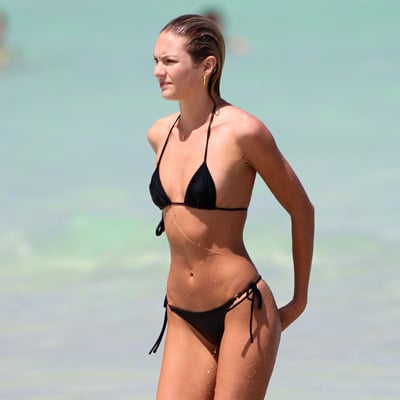 Candice Swanepoel Black Bikini Pictures in Miami With Shirtless Boyfriend