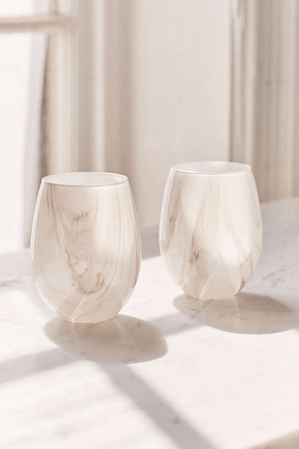 Marble Stemless Wine Glass