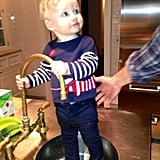 Jessica Simpson shared a photo of her 9-month-old daughter, Maxwell, standing in the sink. Source: Twitter user JessicaSimpson