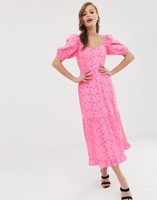 92475c8c05b8 ASOS DESIGN Neon Broderie Midi Dress | Wedding Guest Dresses Under ...