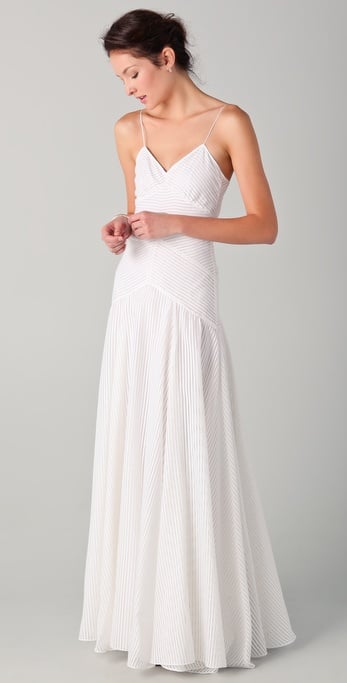 There's nothing overly complicated about this dress, but the simplicity will highlight the bride's natural beauty and is perfect for a pretty outdoor or beach wedding.  10 Crosby Derek Lam Chevron Gown ($487, originally $695)