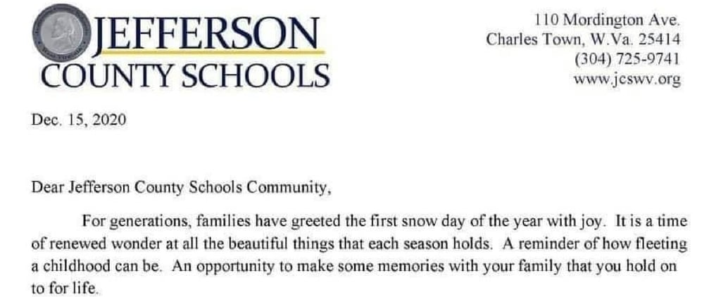 School District's Snow Day Letter Sent to Families