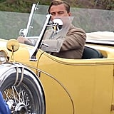 Leonardo DiCaprio in a fancy car on the set of The Great Gatsby in Sydney.