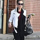 Nicole Richie sported studded leather.
