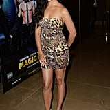 Pregnant Camila Alves looked sexy in an animal print dress at the Magic Mike premiere in London.