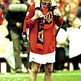 David Beckham, playing for Manchester United, brought his eldest son, Brooklyn, onto the field in April 2001 to celebrate winning the FA Carling Premiership Trophy.