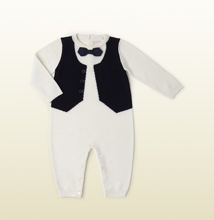 White Sleep Suit With Vest and Bow Tie ($265)