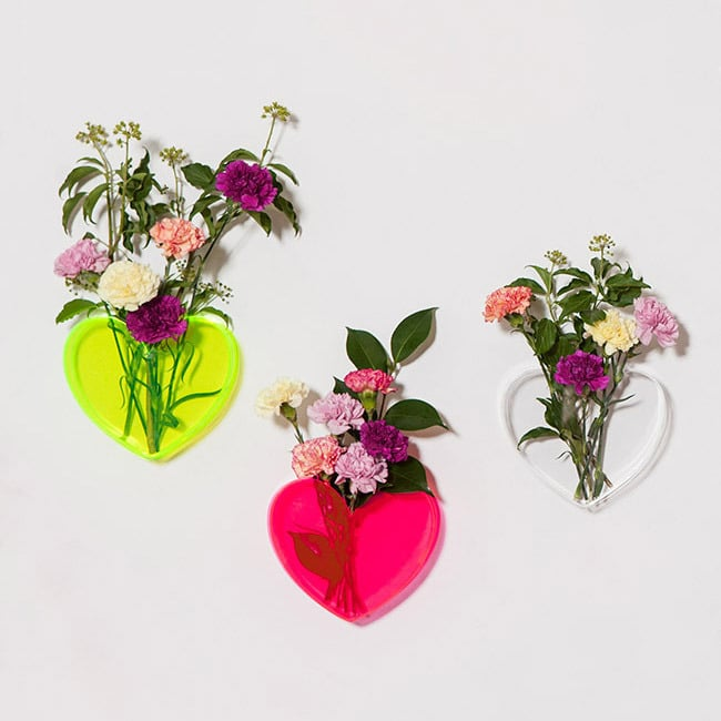 Don't be afraid to show some heart with a mountable Neon Vase ($69 each).