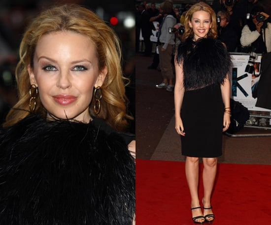 Photos of Kylie Minogue in a Feather Adorned Gucci Dress in London
