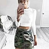 Forever 21 Camo Zip-Front Miniskirt