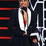 Becky G's Orange-Red Nail Polish Color at the Latin American Music Awards
