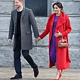January: Meghan rocked a bold look while making an appearance with Harry in Birkenhead, England.