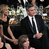 Stacy Keibler and George Clooney watched the show.