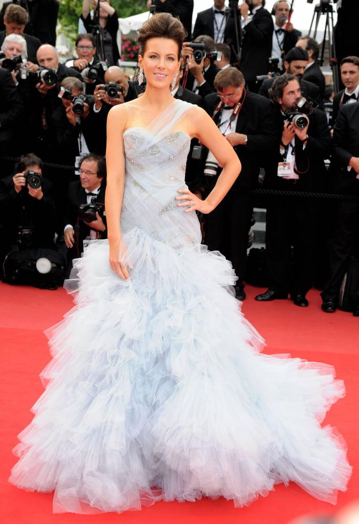 Kate Beckinsale floated down the red carpet in a pale blue gown for the opening night premiere of Robin Hood during the 63rd Annual International Cannes Film Festival in 2010.